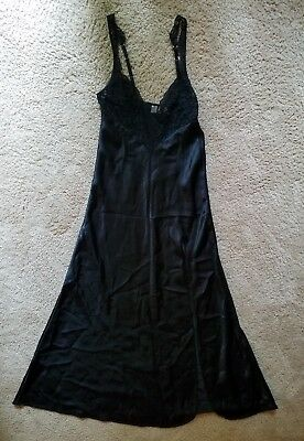 Vtg Size P/S Gold Label Victoria's Secret Glossy Black Long Nightgown Satin Gown