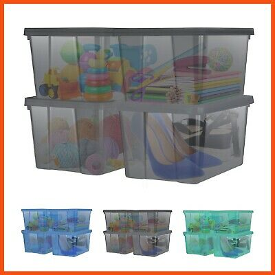 4 x 15L STACKABLE PLASTIC STORAGE BOX | Storage Container Tubs Organiser Bin