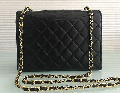 """f06984cedc93 Auth Vintage CHANEL 9"""" Small Black Quilted Lambskin Gold Chain Single Flap"""