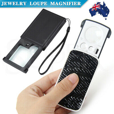 Jewelry Loupe Magnifier Loop Lighted Jewelers Magnifying Glass Lens pocket