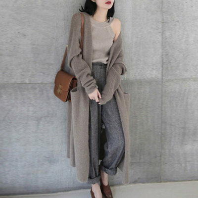 Women Ladies Wool Cashmere Sweater Cardigan Knit Stretch V Neck Long Coats 00