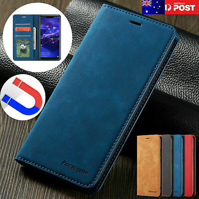 For Samsung Galaxy S10 5G Case Retro Magnetic Leather Card Stand Wallet Cover AU
