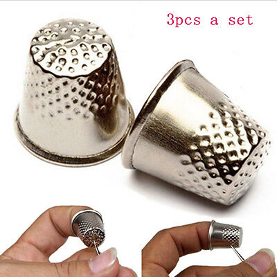 3X Finger Thimble Sewing Grip Metal Shield Hand Protector Pin Needle Silvery