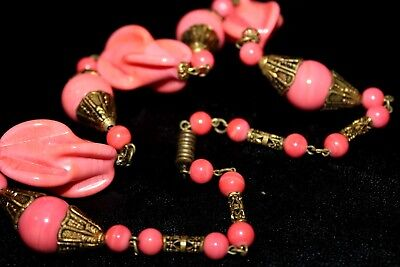 Antique Art Deco Max Neiger Filigree Brass Capped Molded Necklace Nd1