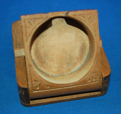 A carved wooden pocket watch stand or case, Victorian, Edelweiss flower, Swiss