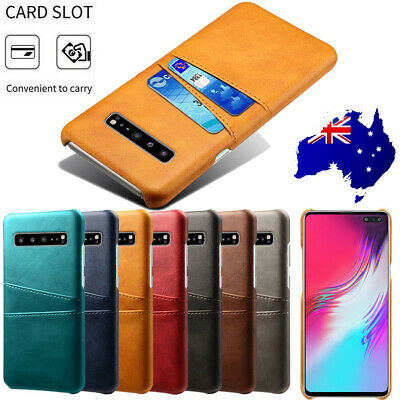 For Samsung Galaxy S10 5G Case Cards Pocket Holder Slim Leather Back Case Cover