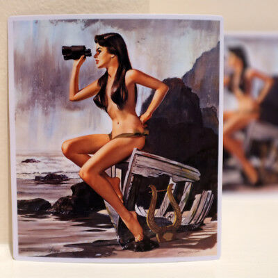 "Adventure Sailor Vintage Pin Up Hot Girl Retro Art 4"" Decal Sticker #3667"
