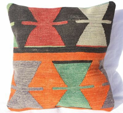 Turkish Kilim Pillow 19x18, Kilim Rug Cushion 19x18