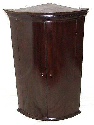 Antique Georgian Mahogany Bow Fronted Corner Cupboard (17)