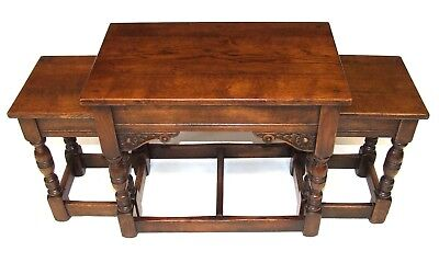 Superb Quality SOLID OAK Nest of 3 Occasional / Coffee Tables / Lamp Stands (50)