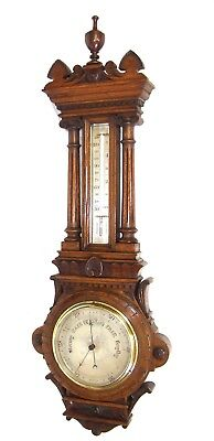 MASSIVE Antique Carved Oak Aneroid Banjo Barometer & Thermometer (c45)