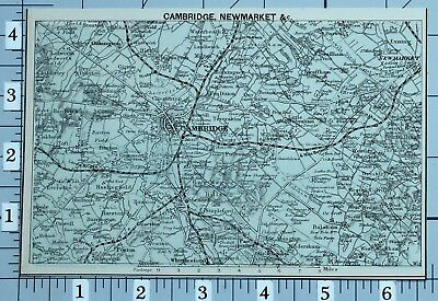 1883 Map Cambridge Newmarket Oakington Shelford Foxton Chesterton Hardwick