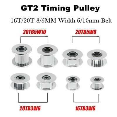 5PCS GT2 Idler Timing Pulley 16/20 Tooth 3/5mm Bore For 6mm Belt 3D Printer CG