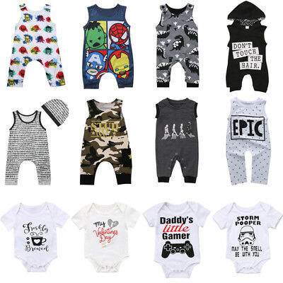 AU Stock Newborn Baby Boy Girl Cartoon Romper Bodysuit Jumpsuit Clothes Outfits