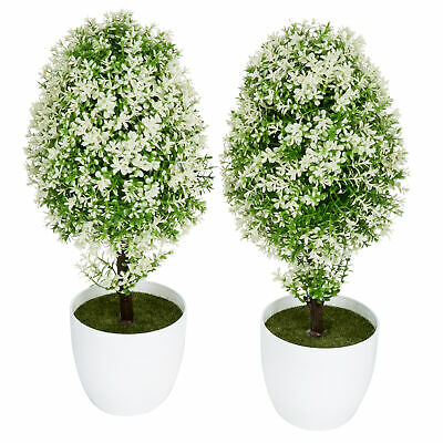 MyGift Plastic Artificial Plants, Small Synthetic Trees in Planter Pots, White