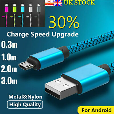 0.3m 1m 3m Braided Micro USB Charger Fast Charging Data Cable Lead for Android