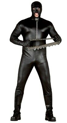 Mens Black Gimp Suit Costume Stag Do Fancy Dress Adult Male Bondage Size Medium
