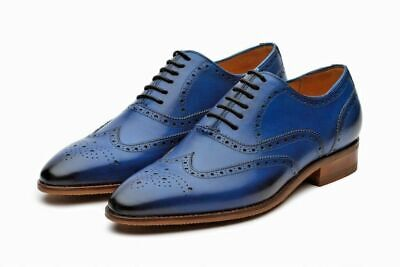 a8e6a8ce305 Handmade Men's Genuine Blue Leather Oxford Brogue Lace Up Formal Shoes