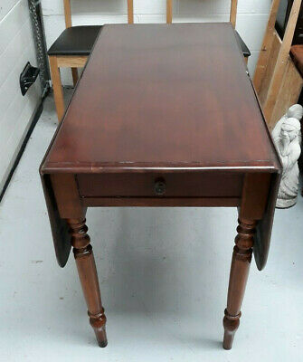 Antique 19Th Century Mahogany Pembroke Drop Leaf Occasional Table With Drawer