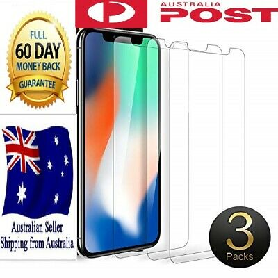 iPhone XS Max XR X 8 7 Plus 3Pack Tempered Glass Screen Protector Apple