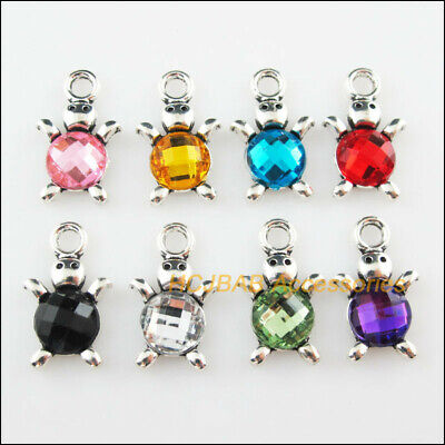 8Pcs Tibetan Silver Animal Tortoise Mixed Acrylic Charms Pendant 14x23mm