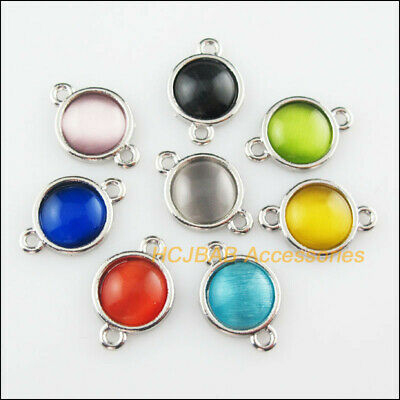 8Pcs Tibetan Silver Round Mixed CatEye Stone Charms Pendant Connectors 13x19mm