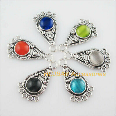 6 Tibetan Silver Teardrop Mixed CatEye Stone Charms Pendant Connector 19x34.5mm