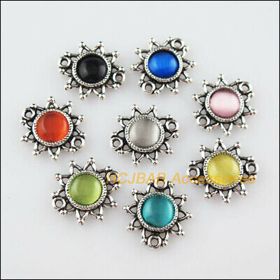 16Pcs Tibetan Silver Flower Mixed CatEye Stone Charms Pendant Connectors 14x15mm