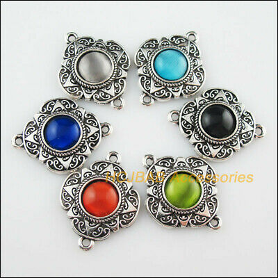 6Pcs Tibetan Silver Flower Mixed CatEye Stone Charms Pendant Connector 23.5x30mm