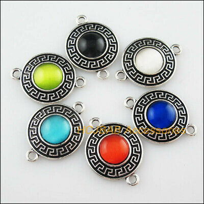 6Pcs Tibetan Silver Round Mixed CatEye Stone Charm Pendant Connector 19.5x27.5mm