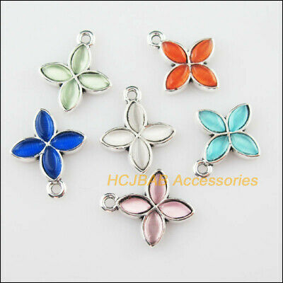 12Pcs Tibetan Silver Tone Flower Mixed CatEye Stone Charms Pendant 15.5x18mm