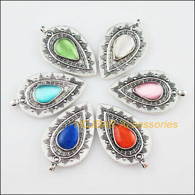 6Pcs Tibetan Silver Oval Flower Mixed CatEye Stone Charms Pendant 20.5x35mm