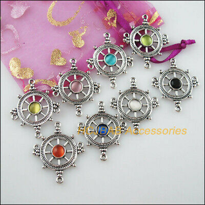 8Pc Tibetan Silver Rudder Mixed CatEye Stone Charm Pendant Connector 27.5x33.5mm