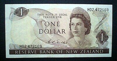 NEW ZEALAND (Silk) ~ QUEEN ELIZABETH II ~ 1 DOLLAR 1968 f+.