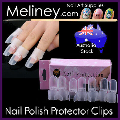 10pc Nail Polish Protector Clips Caps Art Tool Manicure Plastic Finger Cover