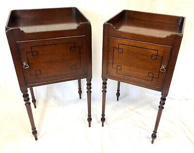 Pair Antique Inlaid Mahogany Tray Top Bedside Cabinets Lamp Stands Regency Style