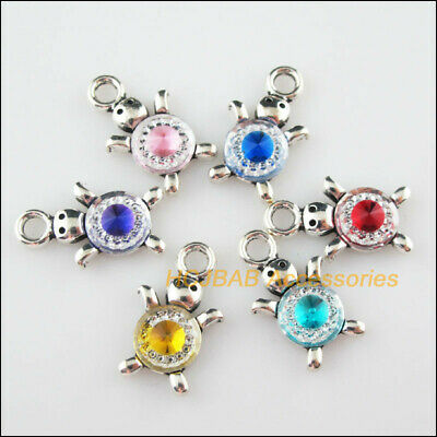 6Pcs Tibetan Silver Tone Animal Tortoise Mixed Resin Charms Pendants 14x23mm