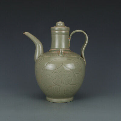 A Fine Collection Chinese 11thC Song Yue Ware Porcelain Carved Flower Wine Pots