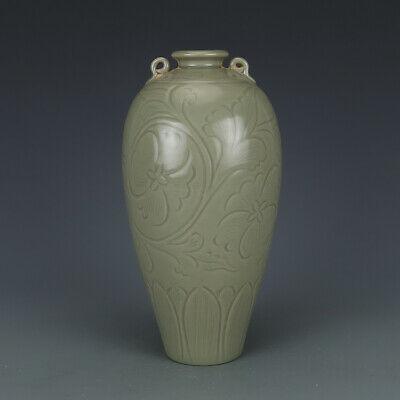 A Fine Collection Chinese 11thC Song Yue Ware Porcelain Carved Flower Plum Vases