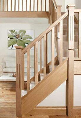 Solid Oak Double Reeded Stair & Landing Balustrade Staircase Kit Inc Reed Newels