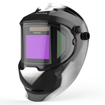 Large View True Color Solar Power Auto Darkening Welding Helmet with 2 Side View