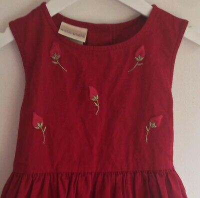 Laura ashley Mother And Child Girls vintage dress Age 4-5 Red 1980s Party Cotton