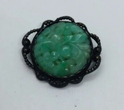 Antique Victorian Chinese Sterling Silver & Carved Green Jade Pin