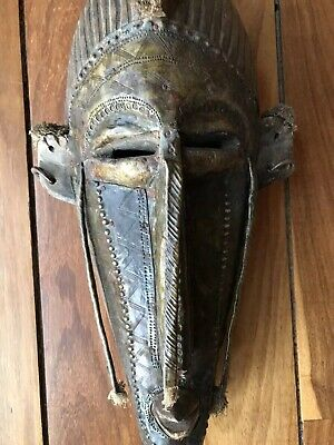 African Kore Mask of Marka People of Mali Wood & Punched Copper