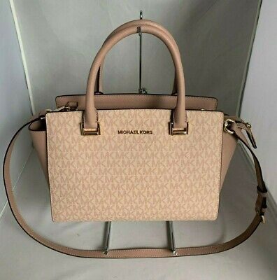 72251715973b8e Michael Kors Selma Medium MK Signature Top Zip Satchel Handbag Fawn/ Ballet