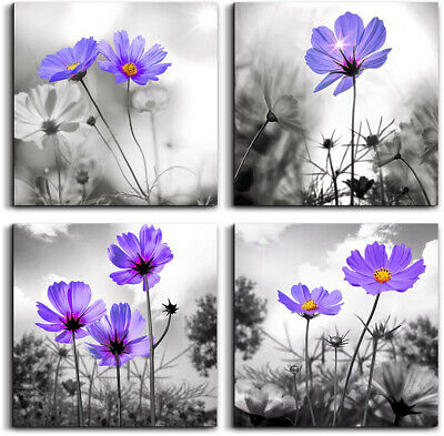 Canvas Wall Art For Bedroom Black And White Landscape Purple Flowers Bathroom X