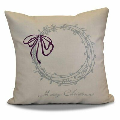 E by Design Jump For Joy Holiday Merry Christmas Outdoor Pillow Gray 18 x 18
