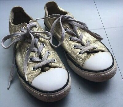 Girls Gold Converse Size 2 34 Trainers Low Tops Sneaker