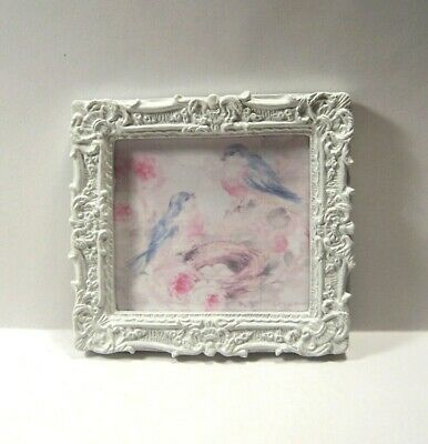 Miniature Picture Shabby Chic Dollhouse Diggs Water Color Blue Birds Nest Pink
