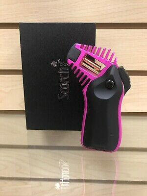 "Scorch Torch Lighter 5"" Black + Pink Adjustable + Refillable Excellent Quality"
